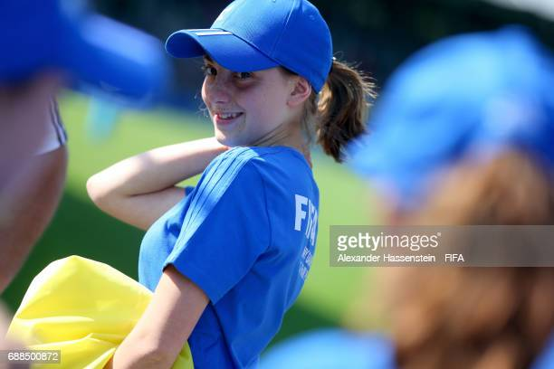 Volunteers on day two of the Blue Stars/FIFA Youth Cup 2017 at the Buchlern sports complex on May 25 2017 in Zurich Switzerland