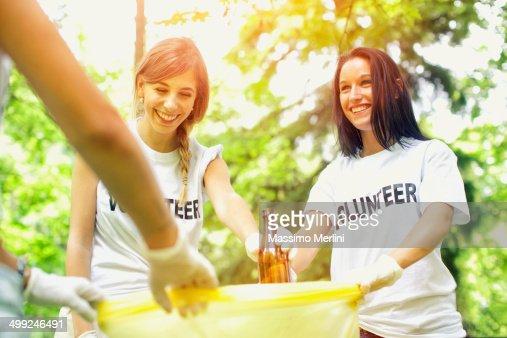 Volunteers picking up garbage