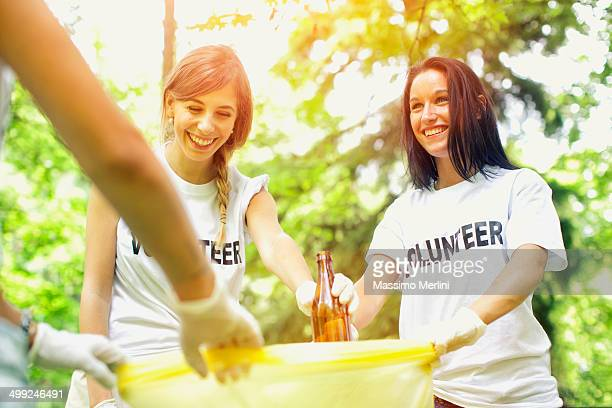 Volunteers picking up garbage