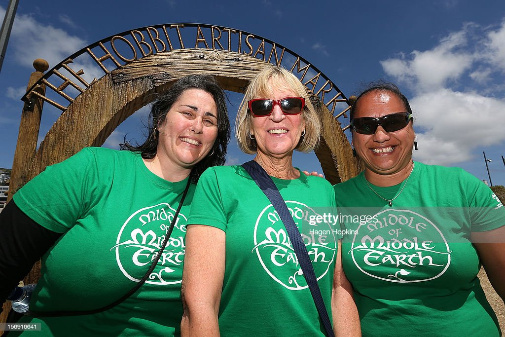 Volunteers pose at the entrance during the Hobbit Artisan Market ahead of the 'The Hobbit: An Unexpected Journey' world premiere at Waitangi Park on November 25, 2012 in Wellington, New Zealand.