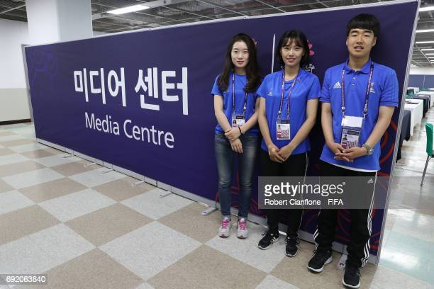 Volunteers pose during the FIFA U20 World Cup Korea Republic 2017 Quarter Final match between Venezuela and the USA at Jeonju World Cup Stadium on...