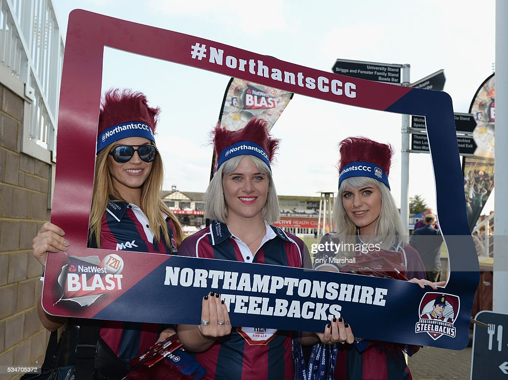Volunteers pose with a giant Northamptonshire Steelbacks photo frame during the NatWest T20 Blast match between Northamptonshire and Derbyshire at The County Ground on May 27, 2016 in Northampton, England.