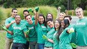 Volunteers posing together outdoors