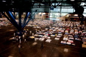 Volunteers prepare for evacuees from New Orleans to arrive at the George R Brown Convention Center September 3 2005 in Houston Texas