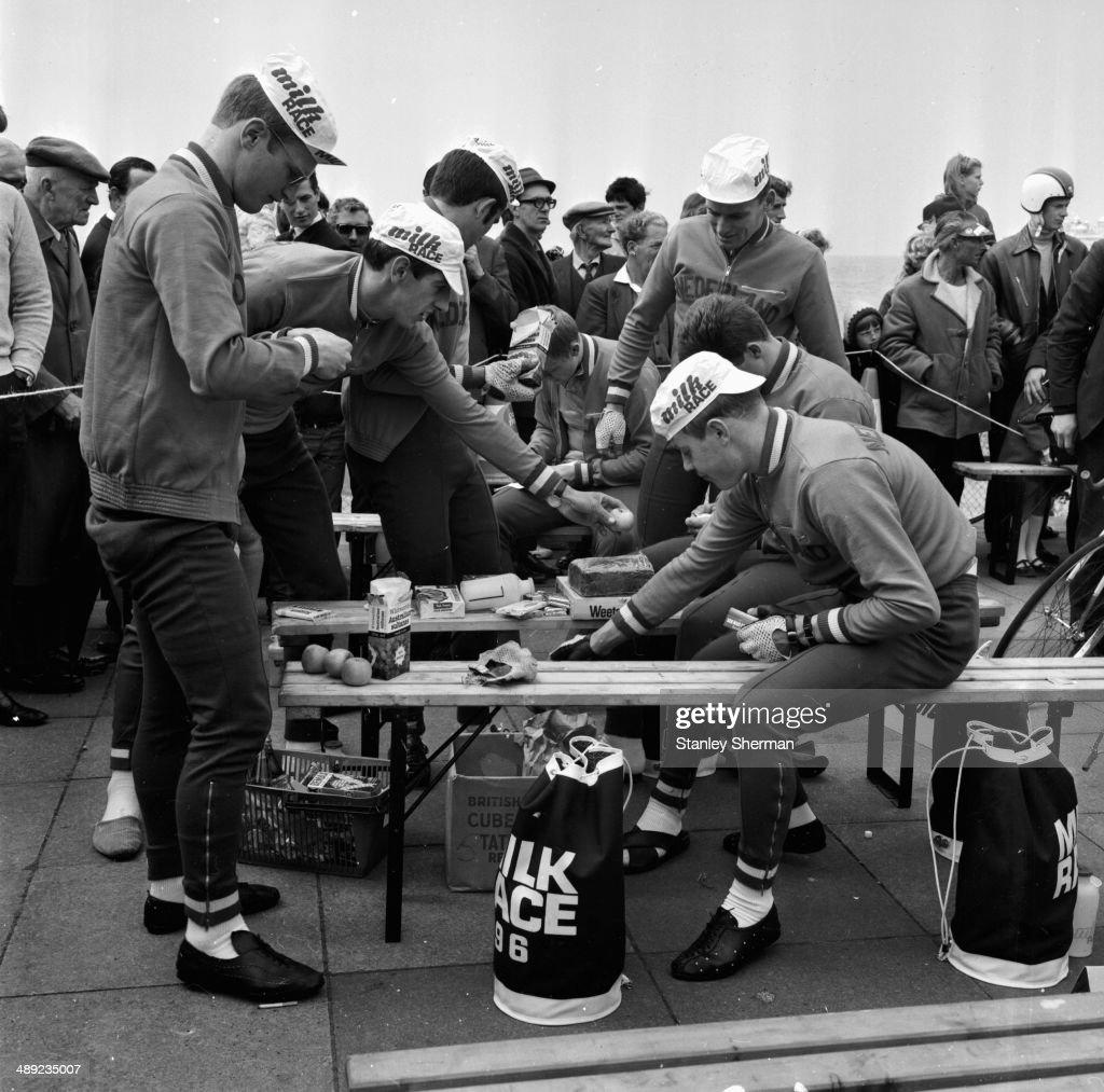 Volunteers preparing for the Tour of Britain or Milk Race Brighton May 26th 1968