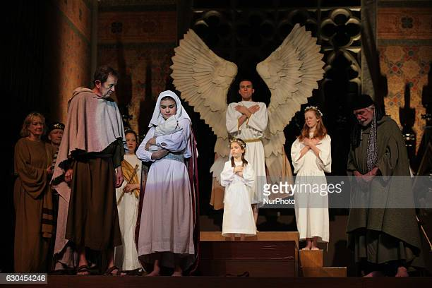 Volunteers reenact the story of the Birth of Jesus Christ at a church in Toronto Ontario Canada on December 22 2016