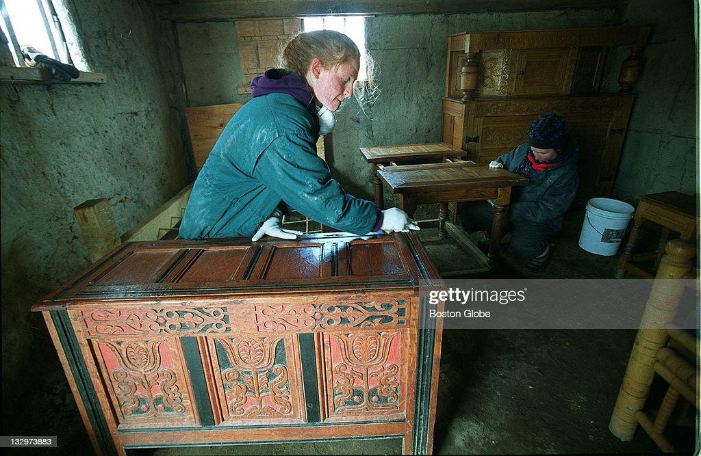 Volunteers Shelley Otis, Left, And Paula Marcoux Scrub Furniture To Help  Prepare Plimoth Plantation