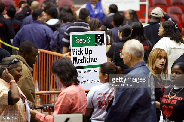 Volunteers stand in line for processing in a terrorism response and preparedness exercise dubbed the County and City of Los Angeles Stage...