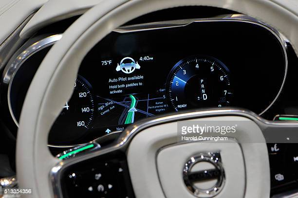 Volvo auto pilot demonstration is shown during the Geneva Motor Show 2016 on March 2 2016 in Geneva Switzerland