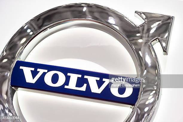 Volvo logo is displayed during the Geneva Motor Show 2016 on March 2 2016 in Geneva Switzerland