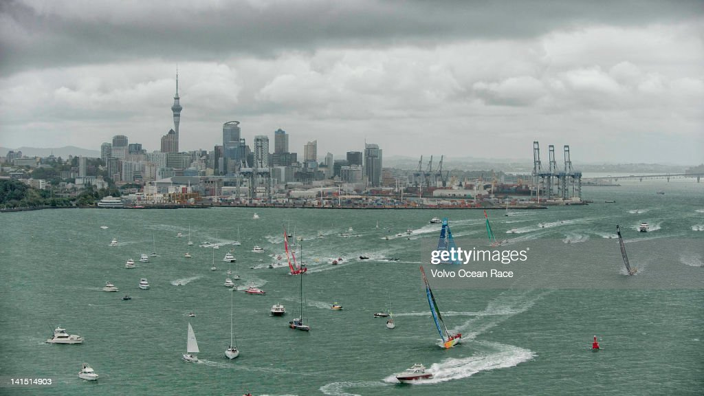 Volvo Open 70's leave Auckland harbour, followed by a huge spectator fleet, at the start of leg 5 from Auckland, New Zealand to Itajai, Brazil, during the Volvo Ocean Race 2011-12 on March 12, 2012 in Auckland, New Zealand.