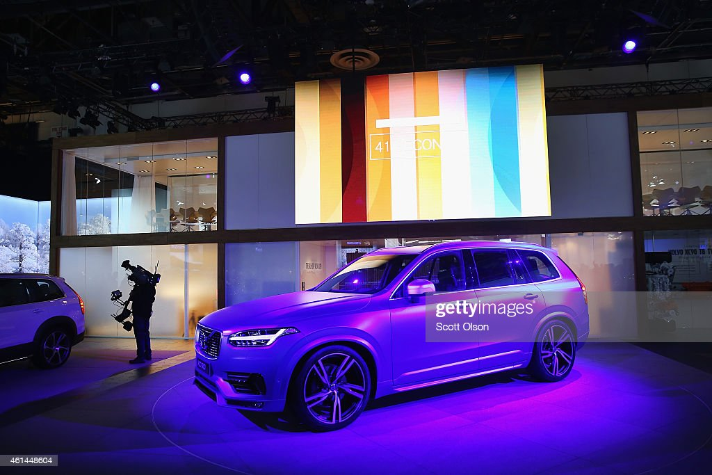 Volvo prepares to introduce the new XC90 at the North American International Auto Show on January 12 2015 in Detroit Michigan More than 5000...
