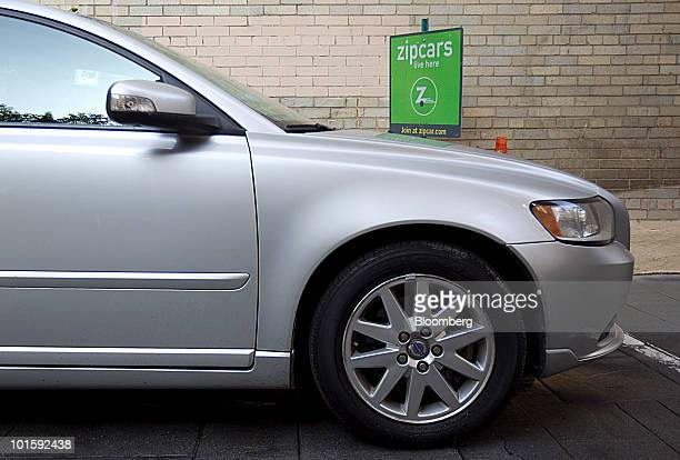 A Volvo S40 sits in a Zipcar parking spot in Washington DC US on Thursday June 3 2010 Zipcar Inc the carsharing company that rents vehicles by the...
