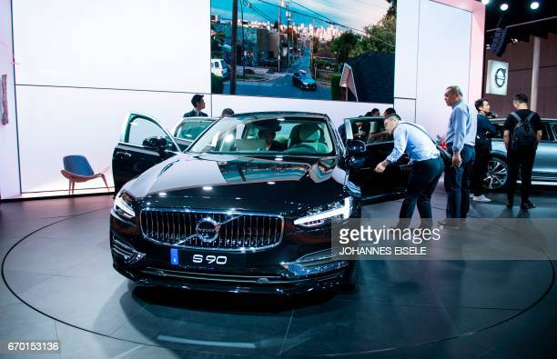 A Volvo S90 car is presented during the first day of the 17th Shanghai International Automobile Industry Exhibition in Shanghai on April 19 2017...