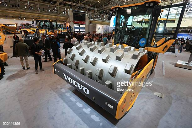 A Volvo SD115B soil compactor vehicle on the Volvo Construction Equipment Corp stand during the Bauma construction industry fair in Munich Germany on...