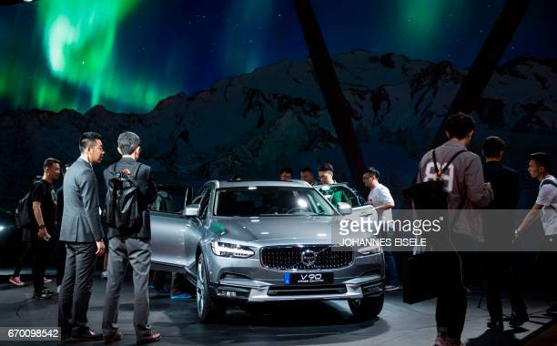 A Volvo V90 is pictured during a media preview at the 17th Shanghai International Automobile Industry Exhibition in Shanghai on April 19 2017 Global...