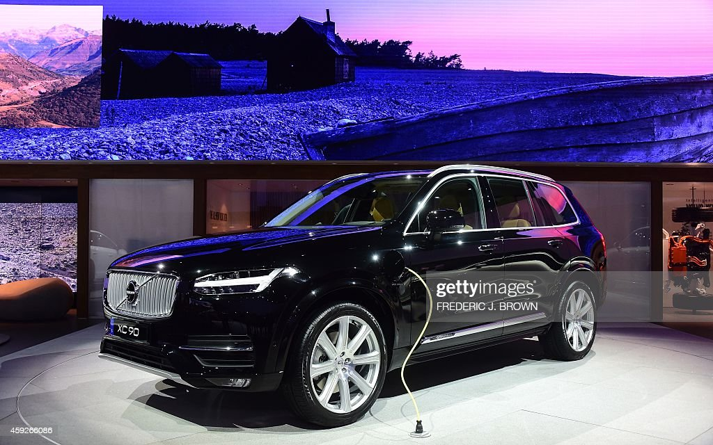 Volvo's 2015 XC90 plugin Hybrid on display at the LA Auto Show's press and trade day in Los Angeles California on November 19 2014 Nearly 60 North...