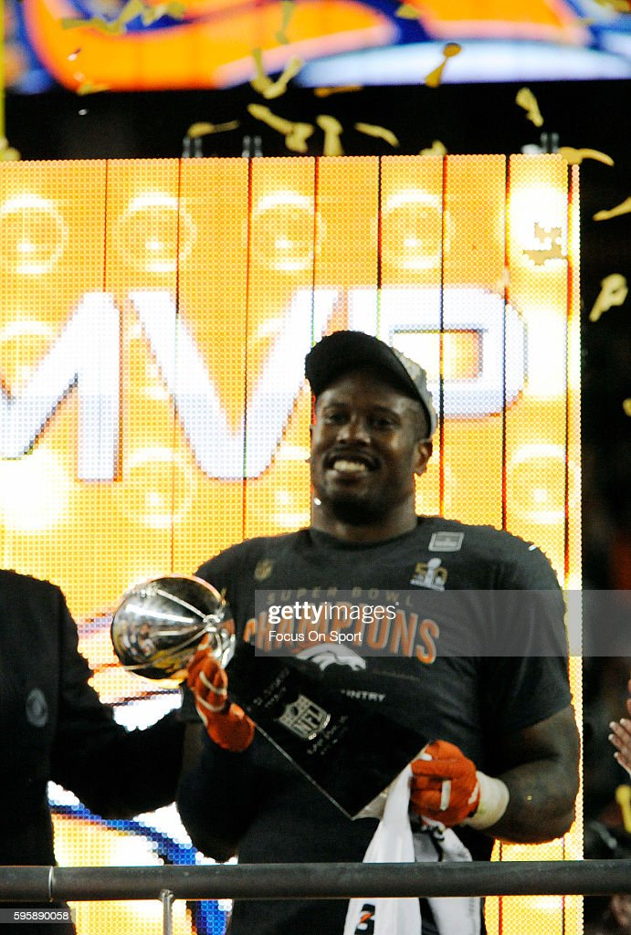 Von Miller of the Denver Broncos celebrates with the Vince Lombardi Trophy after they defeated the Carolina Panthers during Super Bowl 50 at Levi's...