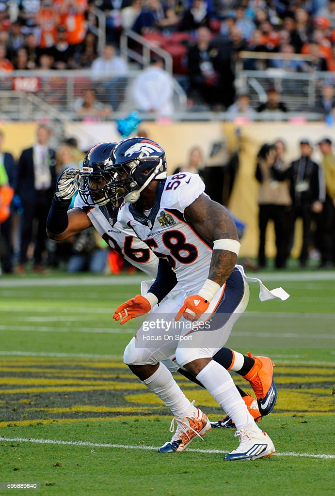 Von Miller of the Denver Broncos in action against the Carolina Panthers during Super Bowl 50 at Levi's Stadium on February 7 2016 in Santa Clara...