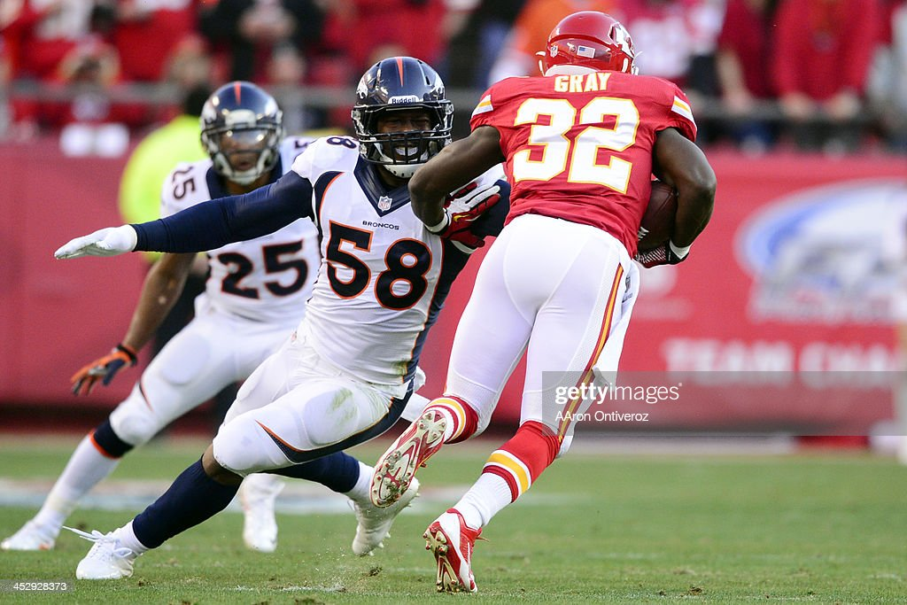 <a gi-track='captionPersonalityLinkClicked' href=/galleries/search?phrase=Von+Miller&family=editorial&specificpeople=7125735 ng-click='$event.stopPropagation()'>Von Miller</a> (58) of the Denver Broncos misses a tackle on <a gi-track='captionPersonalityLinkClicked' href=/galleries/search?phrase=Cyrus+Gray&family=editorial&specificpeople=5573455 ng-click='$event.stopPropagation()'>Cyrus Gray</a> (32) of the Kansas City Chiefs during the first half of action at Arrowhead Stadium. The Denver Broncos visit the Kansas City Chiefs in an AFC West showdown.
