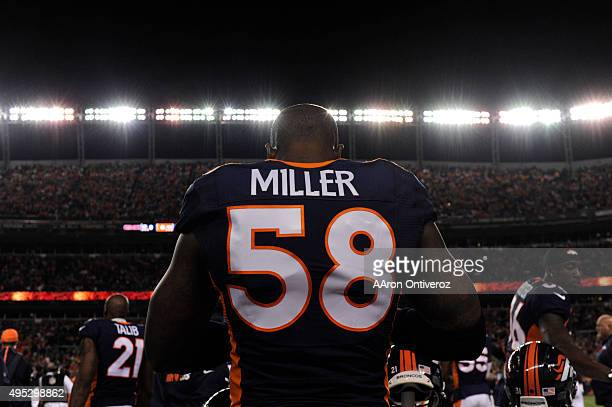 Von Miller of the Denver Broncos on the sidelines before the game The Denver Broncos played the Green Bay Packers at Sports Authority Field at Mile...