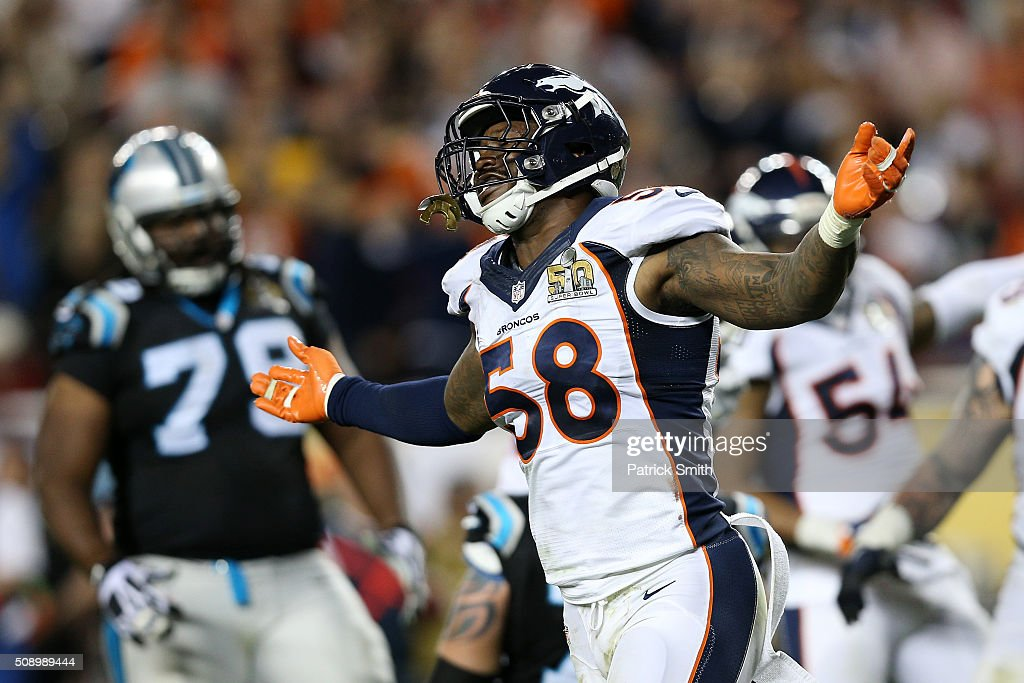 <a gi-track='captionPersonalityLinkClicked' href=/galleries/search?phrase=Von+Miller&family=editorial&specificpeople=7125735 ng-click='$event.stopPropagation()'>Von Miller</a> #58 of the Denver Broncos reacts after a play against the Carolina Panthers in the fourth quarter during Super Bowl 50 at Levi's Stadium on February 7, 2016 in Santa Clara, California.