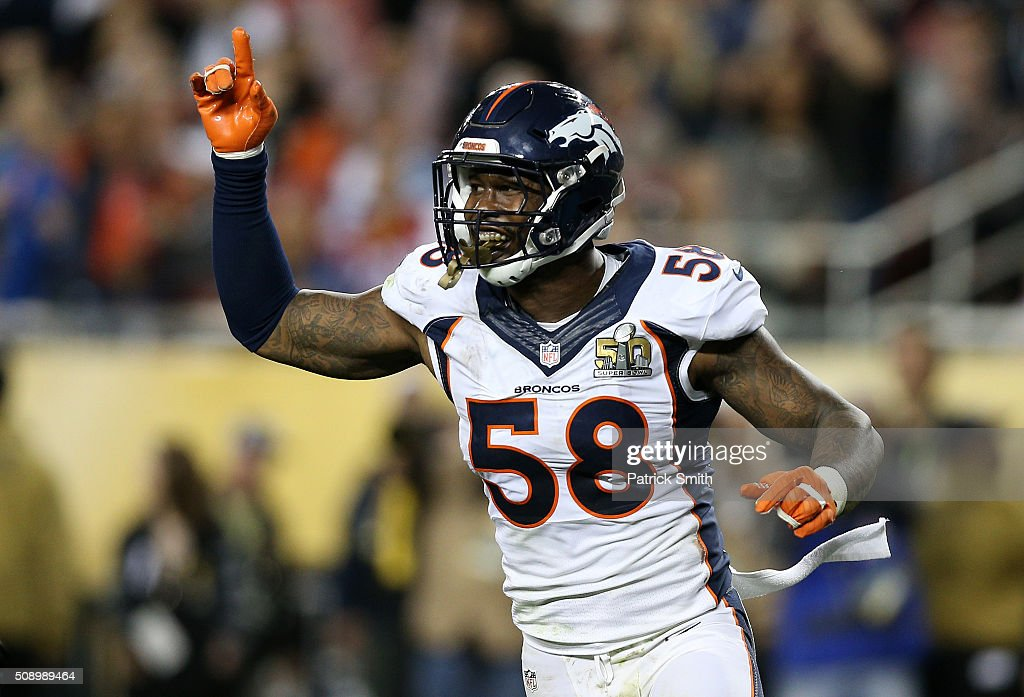 Von Miller of the Denver Broncos reacts after a play against the Carolina Panthers in the fourth quarter during Super Bowl 50 at Levi's Stadium on...