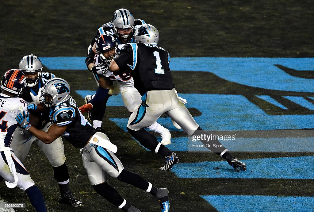 Von Miller of the Denver Broncos rushes quarterback Cam Newton of the Carolina Panthers during Super Bowl 50 at Levi's Stadium on February 7 2016 in...