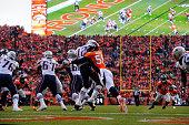 Von Miller of the Denver Broncos sacks Tom Brady of the New England Patriots in the third quarter The Denver Broncos played the New England Patriots...