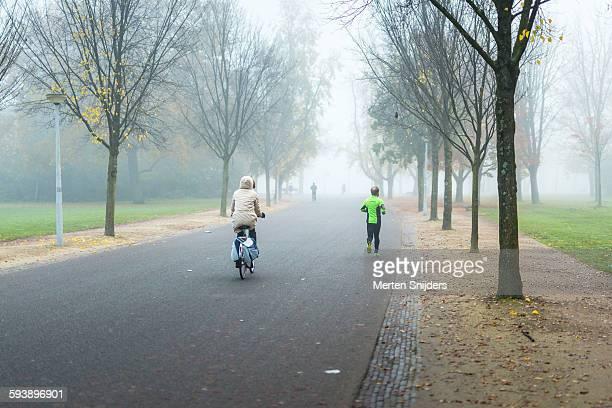 Vondelpark in mist during morning