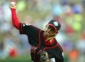 Vonn Fe'ao of the Northwest delivers a pitch during the Championship Game of the Little League World Series on August 28 2005 at Lamade Stadium in...