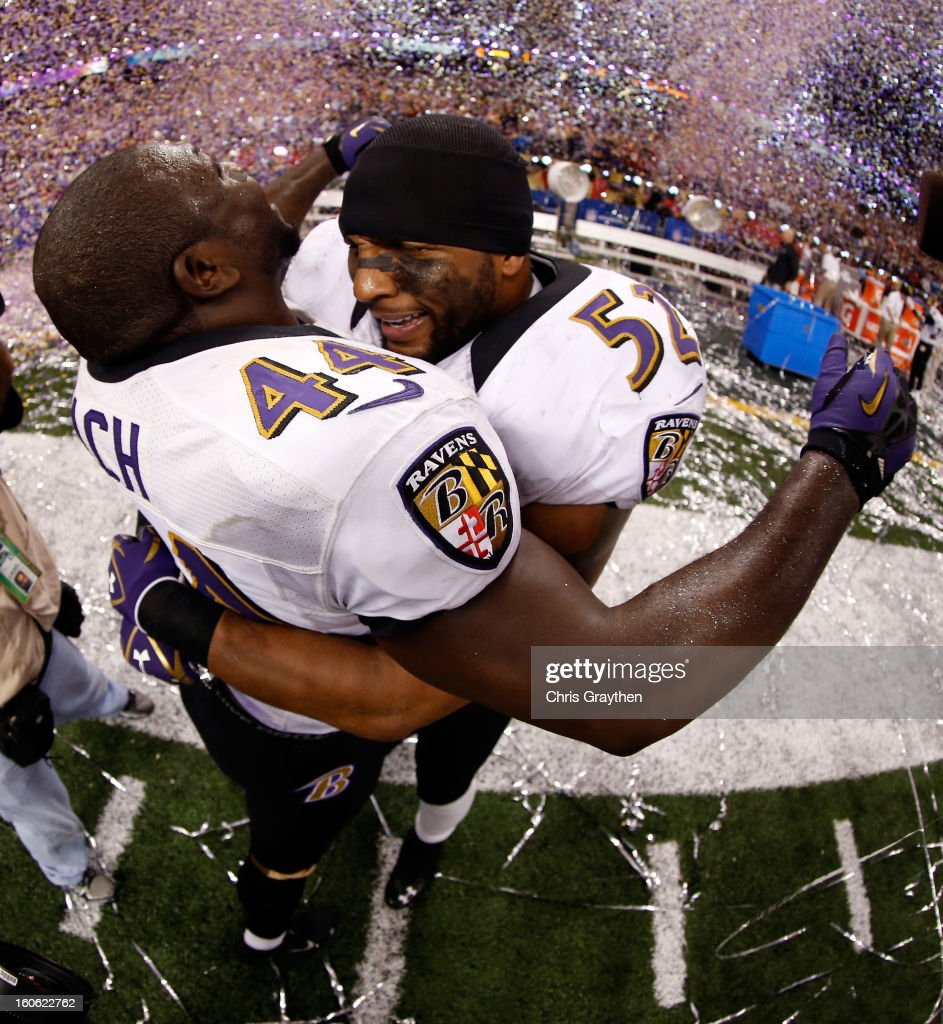 Vonta Leach and Ray Lewis of the Baltimore Ravens celebrate after defeating the San Francisco 49ers during Super Bowl XLVII at the MercedesBenz...