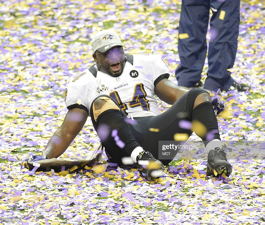 Vonta Leach (44) of the Baltimore Ravens celebrates in the confetti littering the field after a 34-31 win over the San Francisco 49ers in Super Bowl XLVII at the Mercedes-Benz Superdome in New Orleans, Louisiana, Sunday, February 3, 2013.