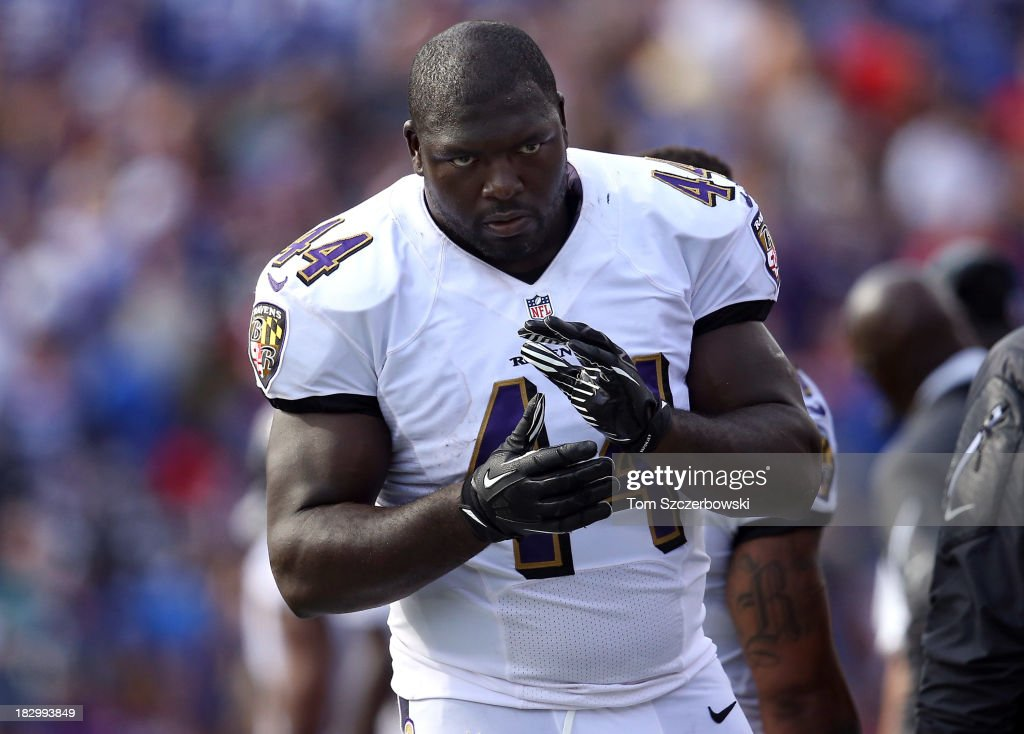 Vonta Leach of the Baltimore Ravens on the sideline during NFL game action against the Buffalo Bills at Ralph Wilson Stadium on September 29 2013 in...