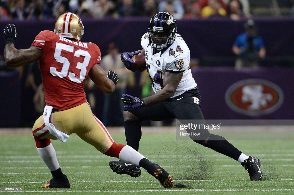 <a gi-track='captionPersonalityLinkClicked' href=/galleries/search?phrase=Vonta+Leach&family=editorial&specificpeople=2147886 ng-click='$event.stopPropagation()'>Vonta Leach</a> #44 of the Baltimore Ravens runs with the ball against NaVorro Bowman #53 of the San Francisco 49ers during Super Bowl XLVII at the Mercedes-Benz Superdome on February 3, 2013 in New Orleans, Louisiana.