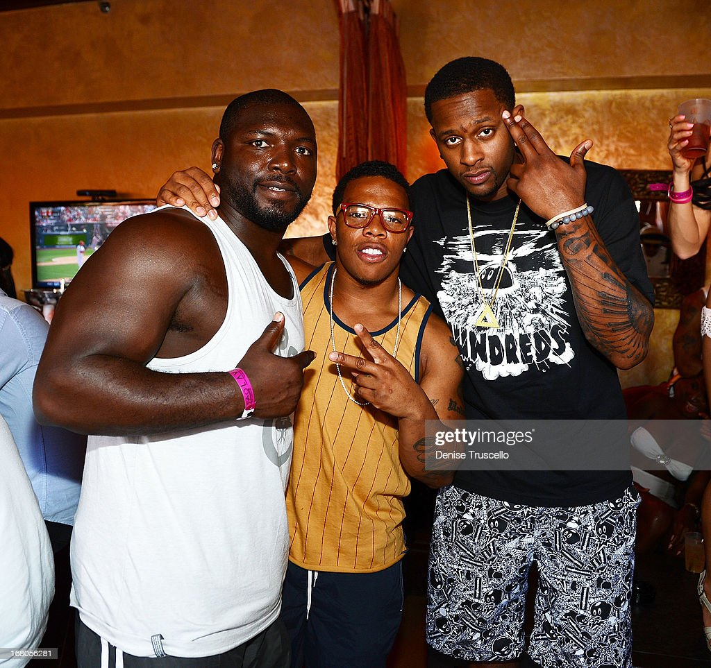 Vonta Leach Ray Rice and CJ Miles attend the season grand opening of TAO Beach at The Venetian Las Vegas on May 4 2013 in Las Vegas Nevada