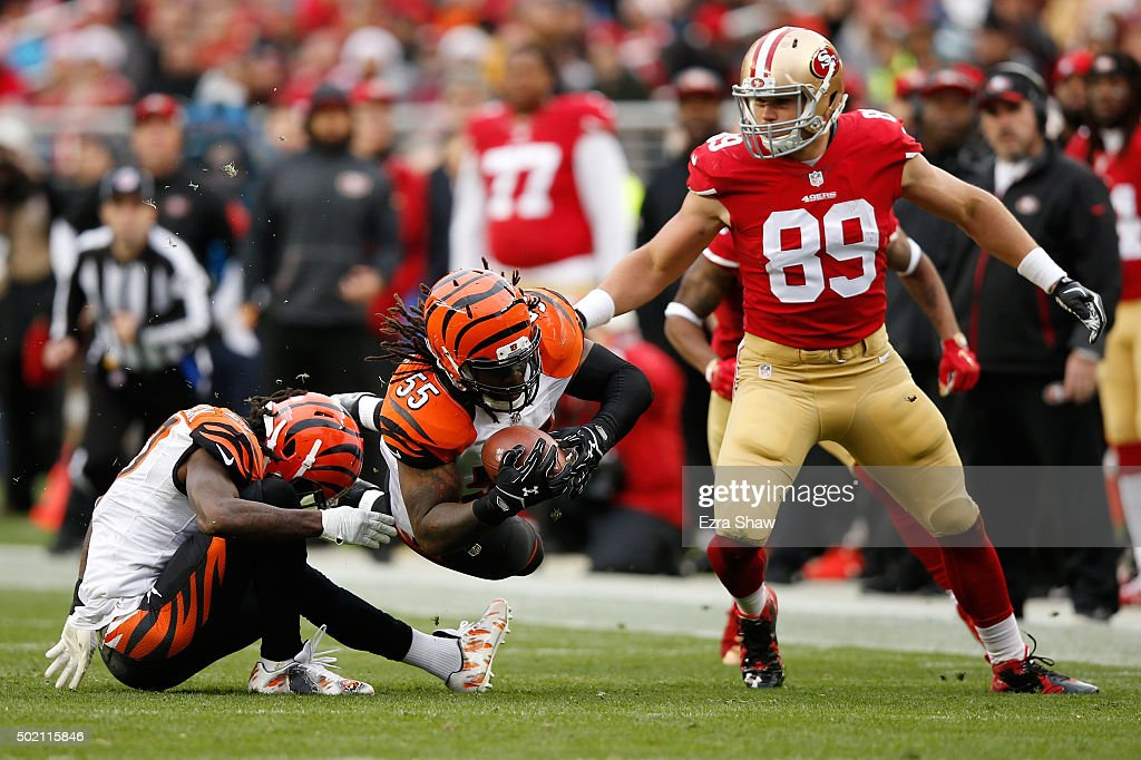 38dfee8b8 ... Francisco 49ers 89 Vance McDonald Elite White NFL Jersey High Quality  Vontaze Burfict 55 of the Cincinnati Bengals intercepts a ball intended for  Vance ...