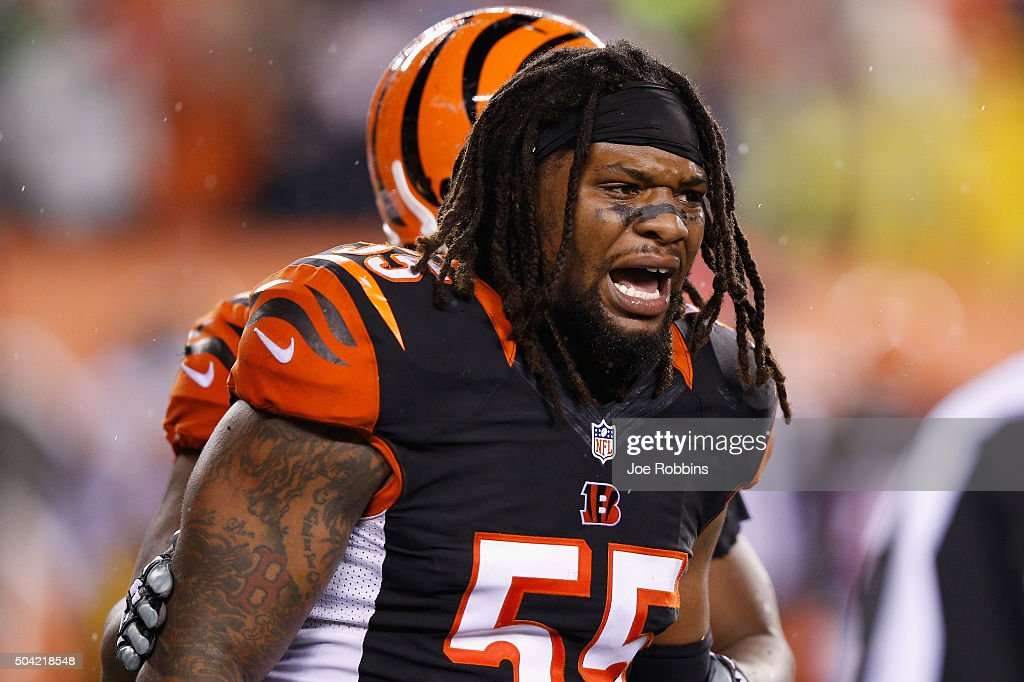 Vontaze Burfict #55 of the Cincinnati Bengals reacts in the third quarter against the Pittsburgh Steelers during the AFC Wild Card Playoff game at Paul Brown Stadium on January 9, 2016 in Cincinnati, Ohio.