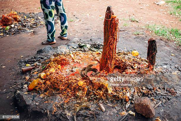Voodoo altar covered with palmoil and blood. Benin, West Africa.