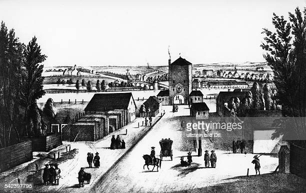 Vor dem Isartor in Münchenhistorische Darstellung