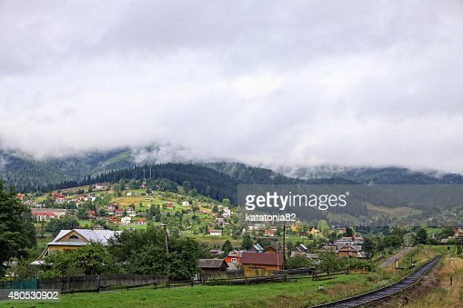 Vorokhta village in Carpathian mountains, Ukraine : Stockfoto