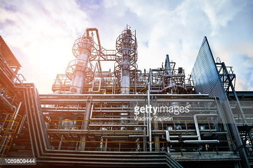 Voronezh Synthetic Rubber Plant, Chemical production of thermoplastic. Columns of butadiene cleaning and drying solvents : Foto stock