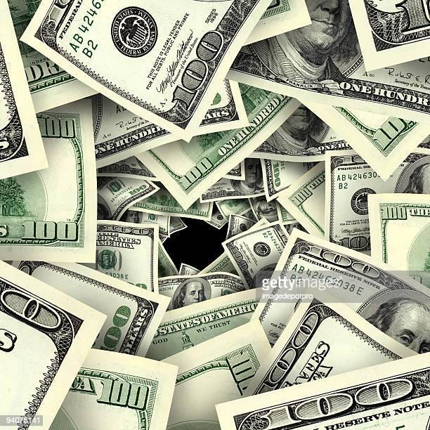 vortex of  hundred dollar bills