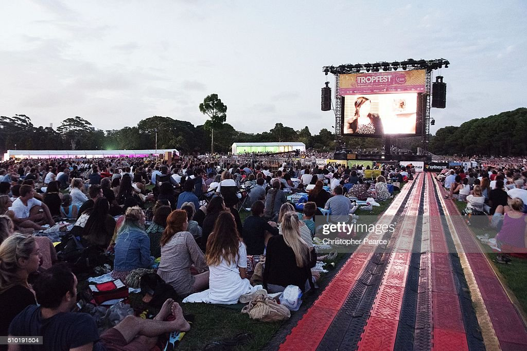 A vorwd watch the big screen during Tropfest 2016 at Centennial Park on February 14, 2016 in Sydney, Australia.