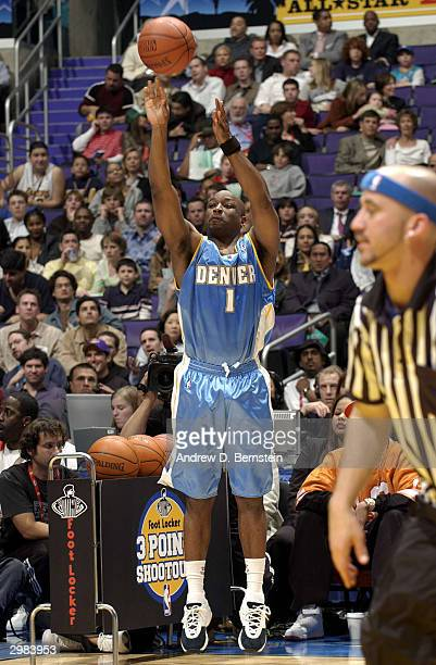 Voshon Lenard of the Denver Nuggets competes during the Foot Locker ThreePoint Shootout part of the 53rd NBA AllStar weekend at Staples Center on...