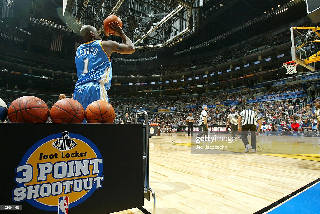 Voshon Lenard of the Denver Nuggets shoots in route to winning the Foot Locker ThreePoint Shootout part of the 53rd NBA AllStar weekend at the...