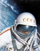 Voskhod 2 mission soviet cosmonaut alexei leonov during world's first space walk in 1965