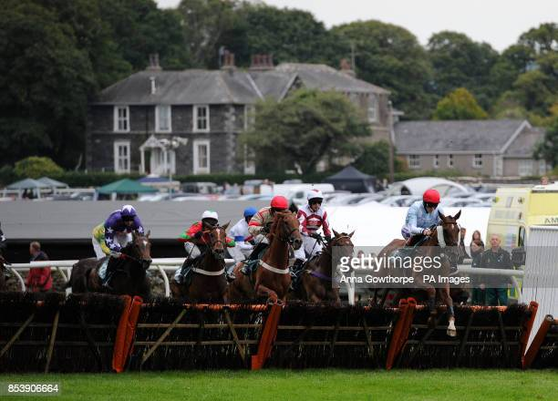 Vosne Romanee ridden by Sam TwistonDavies clears a hurdle on his way to winning the Wicks Waste Services Juvenile Hurdle at Cartmel Racecourse...