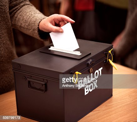 Vote being cast at a polling station