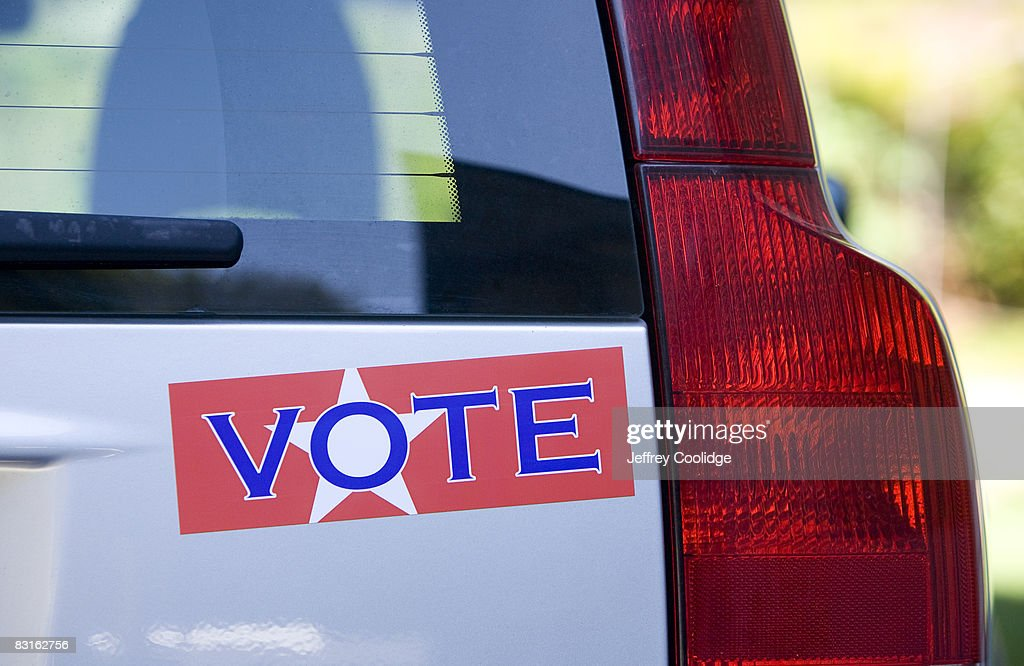 Vote bumper sticker on car